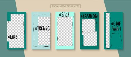 Editable Stories Hipster Vector Layout. Blogger Social Media Illustration Phone Template. Noble Social Media Winners, New Arrivals, Sale -50 Photo Frames Kit. Nice Insta Stories Layout Illustration