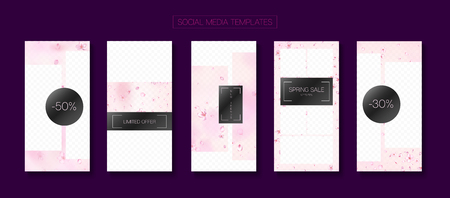 Valentines Day Spring Sale Vector Stories Layout. Limited Offer New Arrivals, Discount Covers Kit. Social Media Stories Templates. Rose Cherry Blossom Falling Confetti. St Valentines Day Spring Sale