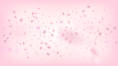 Nice Sakura Blossom Isolated Vector. Spring Blowing 3d Petals Wedding Pattern. Japanese Gradient Flowers Wallpaper. Valentine, Mothers Day Pastel Nice Sakura Blossom Isolated on Rose 일러스트