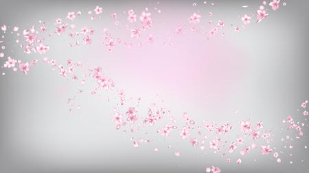 Beau vecteur isolé de fleur de Sakura. Cadre de mariage de pétales 3d de vol d'appel d'offres. Illustration de fleurs de spa de beauté japonaise. Valentine, fête des mères réaliste Nice Sakura Blossom isolated on White