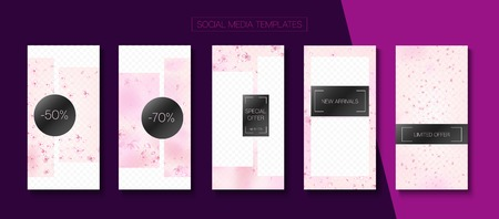 Spa, Natural Cosmetics Stories Sale Vector Layout. Stories Social Media Templates. Pink Cherry Petals Flying Confetti. Limited Offer New Arrivals, Discount Frames Kit. Spa, Natural Cosmetics Sale Ilustração