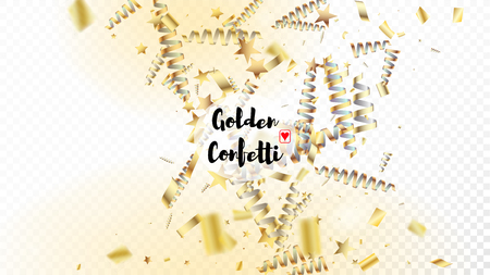 Modern New Year Confetti Realistic Falling Golden Tinsel.  Cool Glamour Christmas, New Year, Birthday Party Holiday Border. Horizontal Stars Stardust Background. New Year Confetti Golden Tinsel Vettoriali