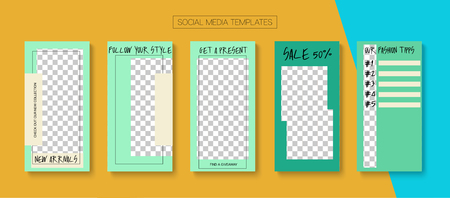 Editable Stories Simple Vector Layout. Bright Social Media New Arrivals, New Goodies, Sale -50 Photo Frames Pack. Blogger Social Media Advertising Website Template. Sale Insta Stories Layout