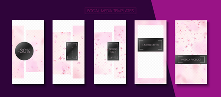 Mothers Day Spring Sale Vector Stories Layout. Pink Sakura Flowers Flying Confetti. Social Media Stories Templates. Special Offer New Arrivals, Discount Frames Set. Mothers Day Big Spring Sale