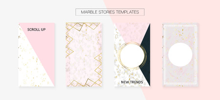 Stories Template Cool Vector Layout. Textured Brand Design Pack. Social Media  Cards Set. Hipster App Kit, Pink White Gold Rich VIP Geometric Marble Patterns. Stories Template VIP Layout
