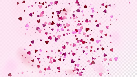 Flying Hearts Vector Confetti. Valentines Day Romantic Pattern. Rich VIP Gift, Birthday Card, Poster Background Valentines Day Decoration with Falling Down Hearts Confetti. Beautiful Pink Scatter Illustration