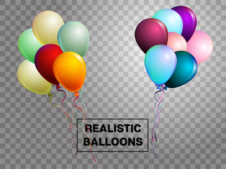 Balloons isolated colorful vector set on transparent background. Festive birthday or New Year celebration decoration. Realistic balloons isolated bouquet. Party VIP love wedding decoration.