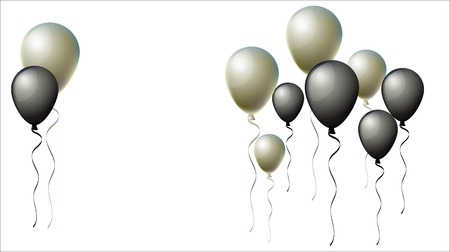 Black Friday Balloons Background. Black and Silver Realistic Balloons Collection. Cool Vector Illustration for Business, Party, Birthday or Holidays. Rich VIP Premium Stylish Balloons Flying Isolated.