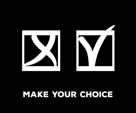 Yes and No Vector Set Square Frames, Isolated.  Hand Painted Check, Quizz, Voting Symbol Design. Ink Rejection and Acceptance, Query Choice Icons. Tick and Cross as Yes and No Symbolic Marks. Illustration