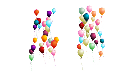 Realistic Balloons Bunch Flying Upwards in the Air. Vector Illustration Isolated on White. Red, Blue, Orange, Yellow, Green, Purple Realistic Balloons Collection. Celebration Card, Festive Decoration. Ilustracja