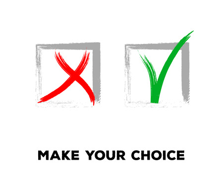 Tick and Cross Vector Collection Square Frames.  Grunge Graffiti Check, Quizz, Voting Symbol Design. Ink Rejection and Acceptance, Query Choice Icons. Tick and Cross as Yes and No Symbolic Marks. Illustration