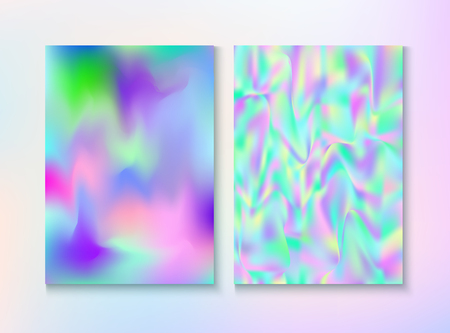 Modern Glitch Rainbow Music Party Vector Poster Set. Hologram Gradient Overlay. Unicorn Light Pearl Cover, Blank Paper, Teal. Energy Illustration. Energy Rainbow Party Glitch Background.