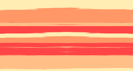 Orange, Brown Vector Watercolor Sailor Stripes Trendy Seamless Summer Pattern. Horizontal Brushstrokes Vintage Trace Grunge Textile Clothe Design. Ink Painted Doodle Trace, Geometric Uneven Print