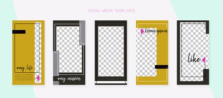 Social Media Stories SMM Template. Blogger Concept Vector Set. Invitation Mobile Design Pack. Hipster App Kit, Brown Grey Transparent Graphic Geometric Cover Patterns. Social Media Stories VIP Layout Ilustrace