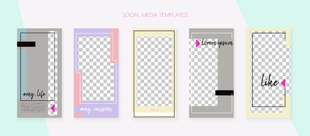 Editable Social Media Stories Template. Blogger Design Vector Set. Tech App Kit, Pink Blue Yellow Luxury Geometric Cover Patterns. Graphic Mobile Design Pack. Social Media Stories VIP Layout Ilustração