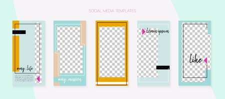 Social Media Stories SMM Template. Blogger Covers Vector Set. Tech App Kit, Green Blue Yellow Red Luxury Geometric Cover Patterns. Invitation Mobile Design Pack. Social Media Stories Templates