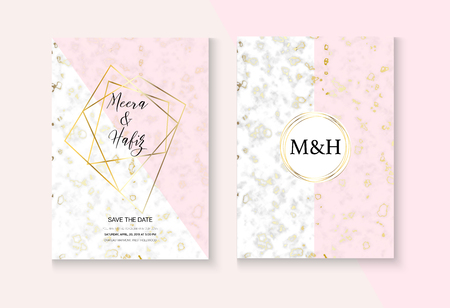 Elegant Marble Wedding Invitation Vector Set. Marbling Texture, Pink, Grey, White Invitation Card. RSVP, Thank You Card, Grunge Design or Poster. Noble Soft Faded Nice Fashion Marble Wedding Kit