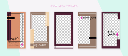 Social Media Stories SMM Template. Graphic Advert Design Pack. Modern App Kit, Brown Grey Transparent Abstract Geometric Cover Patterns. Blogger Covers Vector Set. Social Media Stories VIP Layout Ilustração