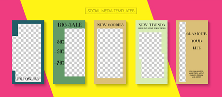 Editable Stories Minimal Vector Layout. Brand Social Media New Arrivals, Like and Share, New Goodies Photo Frames Kit. Blogger Social Media Advertising Phone Template. Sale Stories Layout