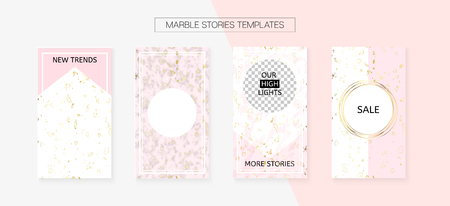 Stories Template Cool SMM Vector Layout. Social Media Blogger Cards Set. Textured Apps Design Pack. Minimal App Kit, Pink White Gold Rich VIP Geometric Marble Patterns. Stories Template VIP Layout