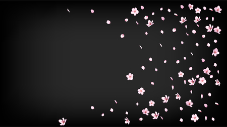 Nice Sakura Blossom Isolated Vector. Summer Showering 3d Petals Wedding Border. Japanese Bokeh Flowers Illustration. Valentine, Mothers Day Tender Nice Sakura Blossom Isolated on Black
