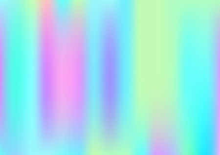 Hologram Magic Dreamy Vector Background. Simple Holographic Rainbow Girlie Iridescent Gradient, Fluid Wallpaper. Bright Hologram, Fairy, Neon Pearlescent Banner. Glam Contrast Hipster Texture Ilustração