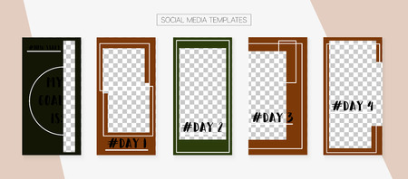 Social Media Stories SMM Template. Trendy App Kit, Brown Grey Transparent Fashion Geometric Cover Patterns. Invitation Brand Design Pack. Blogger Covers Vector Set. Social Media Stories Templates