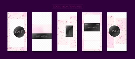 Spa, Natural Cosmetics Stories Sale Vector Layout. Social Media Stories Templates. Special Offer New Arrivals, Discount Frames Set. Pink Sakura Petals Flying Confetti. Spa, Natural Cosmetics Sale