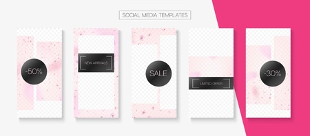 Valentines Day Spring Sale Vector Stories Layout. Stories Social Media Templates. Special Offer New Arrivals, Discount Border Set. Rose Sakura Blossom Falling Confetti. St Valentines Day Spring Sale Banque d'images - 124907310