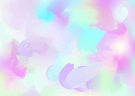 Hologram Vector Fairy Tale Dreamy Background. Holographic Rainbow Gradient Design, Girlie Iridescent Waves Wallpaper. Hologram, Unicorn, Magic Neon Pearlescent Banner. Contrast Glitch Landing Page Stock Vector - 124907313