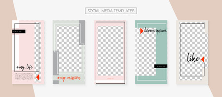 Editable Social Media Stories Template. Simple App Kit, Grey Pink White Luxury Geometric Cover Patterns. Invitation Brand Design Pack. Blogger Design Vector Set. Social Media Stories VIP Layout Archivio Fotografico - 124907316