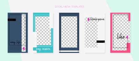 Social Media Stories SMM Template. Blogger Frame Vector Set. Tech App Kit, Green Blue Yellow Red Rich VIP Geometric Cover Patterns. Graphic Phone Design Pack. Social Media Stories VIP Layout