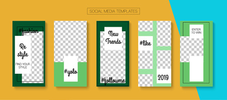Editable Stories Simple Vector Layout. Blogger Social Media Advertising Phone Template. Bright Social Media Fashion, New Arrivals, Follow Us Photo Frames Pack. Sale Insta Stories Layout Banque d'images - 124907326