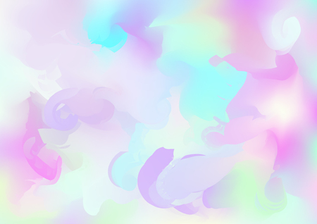 Hologram Vector Fairy Tale Dreamy Background. Holographic Rainbow Gradient Design, Girlie Iridescent Waves Wallpaper. Hologram, Unicorn, Magic Neon Pearlescent Banner. Contrast Glitch Landing Page