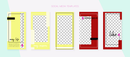 Social Media Stories SMM Template. Graphic Mobile Design Pack. Simple App Kit, Green Blue Yellow Red Polygon Geometric Cover Patterns. Blogger Cards Vector Set. Social Media Stories VIP Layout Illustration