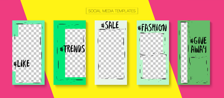 Editable Stories Trendy Vector Layout. Noble Social Media New Goodies, Follow Us, Fashion Photo Frames Kit. Blogger Social Media Geometric Mobile Template. Cool Insta Stories Layout Illustration