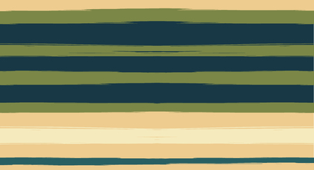 Brown, Green, Gray Sailor Stripes Painted Vector Seamless Summer Pattern. Simple Textured Horizontal Modern Lines, Paintbrush Male Fabric Design. Vector Watercolor Seamless Stripes Track Background