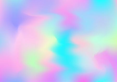 Hologram Dreamy Vector Fairy Tale Background. Holographic Rainbow Gradient Design, Girlie Iridescent Waves Wallpaper. Neon Hologram, Fairy, Magic Pearlescent Banner. Modern Glitch Music Design