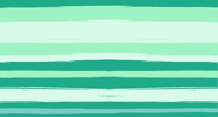 Green, Turquoise Vector Watercolor Sailor Stripes Navy Seamless Summer Pattern. Horizontal Brushstrokes Retro Vintage Hipster Textile Fashion Design. Ink Painted Doodle Lines, Geometric Track Prints Ilustração