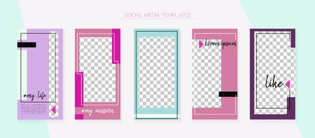 Editable Social Media Stories Template. Invitation Mobile Design Pack. Funky App Kit, Grey Pink White Elegant Geometric Cover Patterns. Blogger Border Vector Set. Social Media Stories Templates Illustration