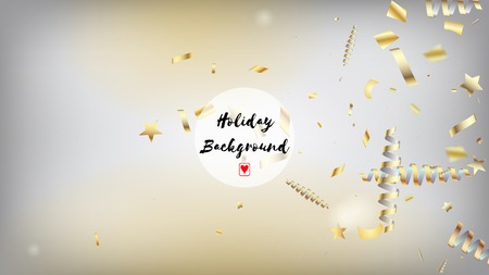 Modern Gold Explosion, Stars, Streamers, Tinsel Burst. Horizontal Shiny Bokeh Background. Cool Rich VIP Christmas, New Year, Birthday Party Holiday Frame. Gold Explosion, Streamers Burst. Ilustração