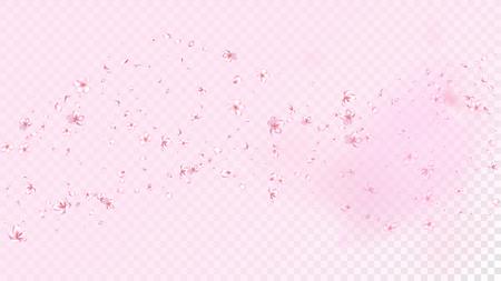 Nice Sakura Blossom Isolated Vector. Pastel Flying 3d Petals Wedding Frame. Japanese Oriental Flowers Wallpaper. Valentine, Mother's Day Feminine Nice Sakura Blossom Isolated on Rose