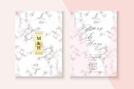 Funky Marble Rose Gold Wedding Invitation. Abstract Foil Cover. Music Party, New Year, Cosmetics Vector Layout. Polygon Frame Set. Rose Gold Marble Texture Wedding Invitation Background