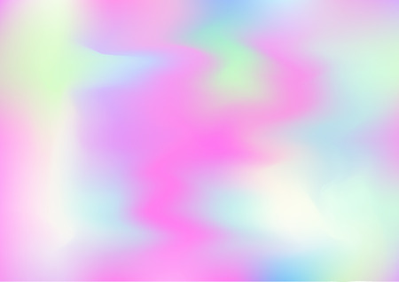 Hologram Dreamy Vector Fairy Tale Background. Simple Holographic Rainbow Girlie Iridescent Gradient, Fluid Wallpaper. Bright Pearlescent Hologram Fairy Cool Web Banner. Contrast Glitch Music Texture