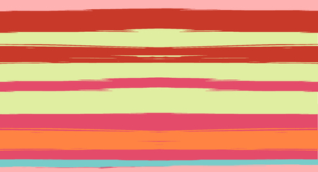 Orange, Brown Nice Seamless Summer Pattern, Vector Watercolor Sailor Stripes. Horizontal Brushstrokes Retro Vintage Grunge Textile Fashion Design. Hand Painted Ink Trace, Male or Female Clothing