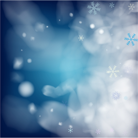 Realistic Snowfall Vector on Blue. Holidays Background, Christmas, New Year Flyer. Flying, Falling Snowflakes, Realistic Vector Snowfall. Christmas Dots Frame, Storm, Frost Effect Magic Ice Vector.