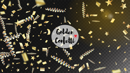 Modern New Year Confetti Realistic Falling Golden Tinsel.  Horizontal Dotted Explosion Background. Cool Glamour Christmas, New Year, Birthday Party Holiday Pattern. New Year Confetti Golden Tinsel