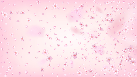 Nice Sakura Blossom Isolated Vector. Realistic Showering 3d Petals Wedding Paper. Japanese Funky Flowers Wallpaper. Valentine, Mother's Day Feminine Nice Sakura Blossom Isolated on Rose