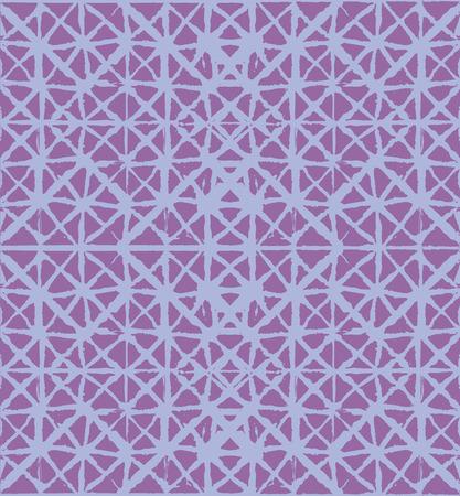 Japanese Kimono Vector Seamless Pattern, Funky Tie Dye Geisha Ornament. Wabi Sabi Ikat Geo Texture, Asian Kimono Fabric Watercolor Batik Design. Textured Shibori Bohemian Seamless Summer Pattern Illustration