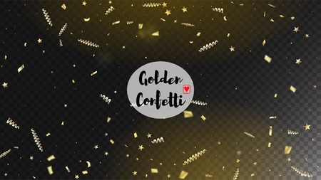 Modern Christmas Tinsel Confetti, Falling New Year Gold. Cool Glamour Christmas, New Year, Birthday Party Holiday Banner. Horizontal Dotted Stardust Background. Gold Christmas Tinsel Confetti